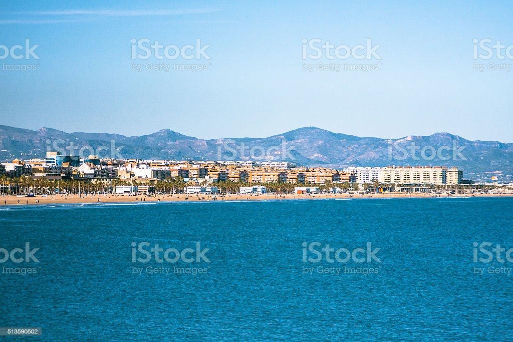 Mediterranean Sea in Valencia stock photo