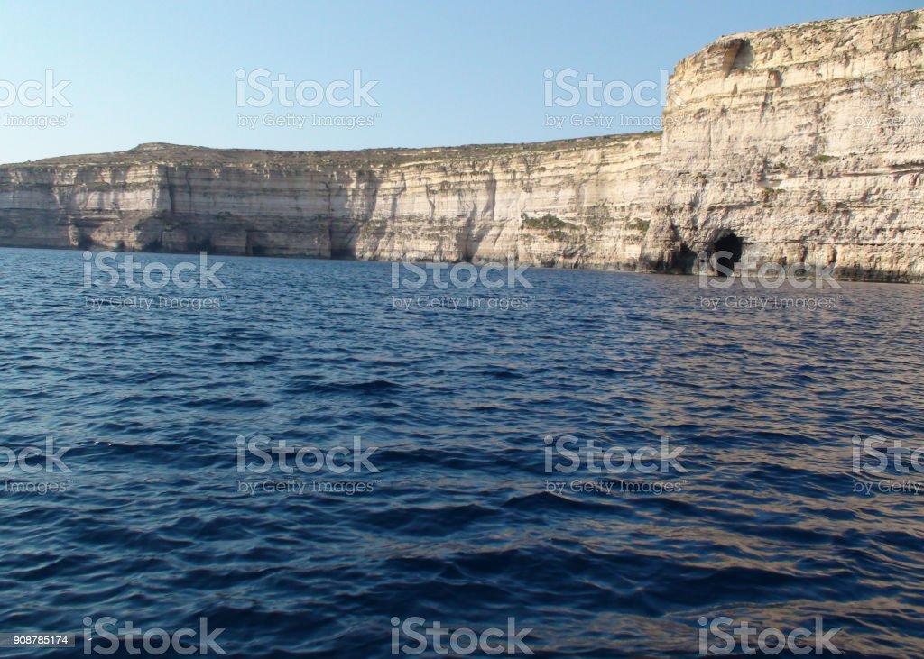 Mediterranean Sea Plus Rock Object Scene In Gozo Malta Europe