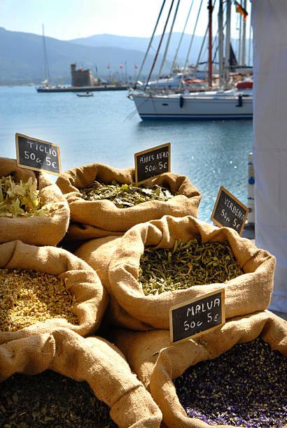 Mediterranean spice market stock photo
