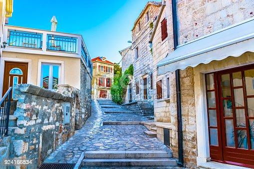 scenic view at old traditional mediterranean street in Dalmatia, Island Brac.