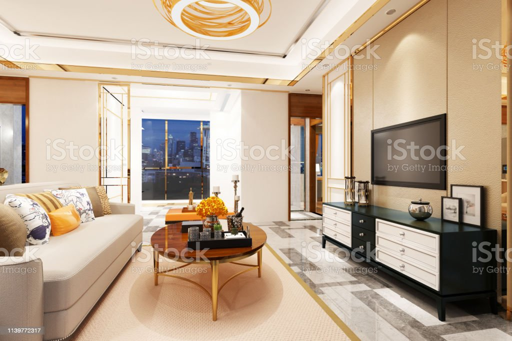 Mediterranean Style Living Room Stock Photo - Download Image ...