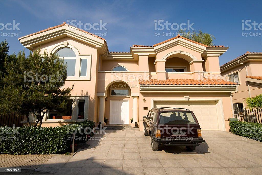 Mediterranean Style Single Family House, Suburban Beijing, China, Parked Car royalty-free stock photo