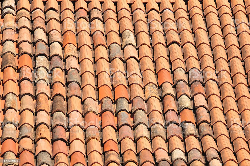 Mediterranean style tiled roof stock photo