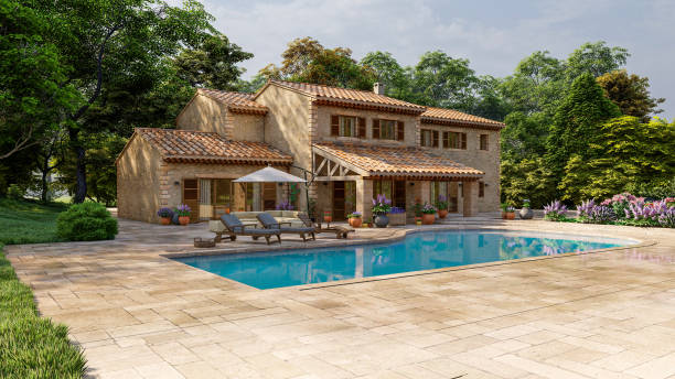 Mediterranean style villa with pool and garden stock photo