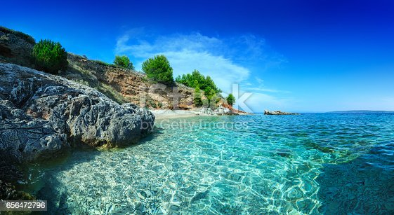 Mediterranean Sunny Beach, crystal clear water in Adriatic Sea