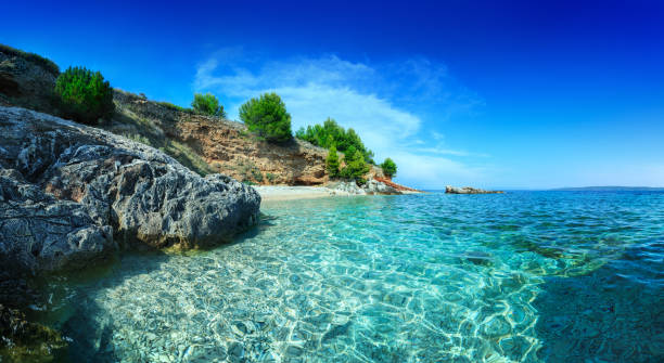 Mediterranean Sunny Beach, crystal clear water in Adriatic Sea stock photo