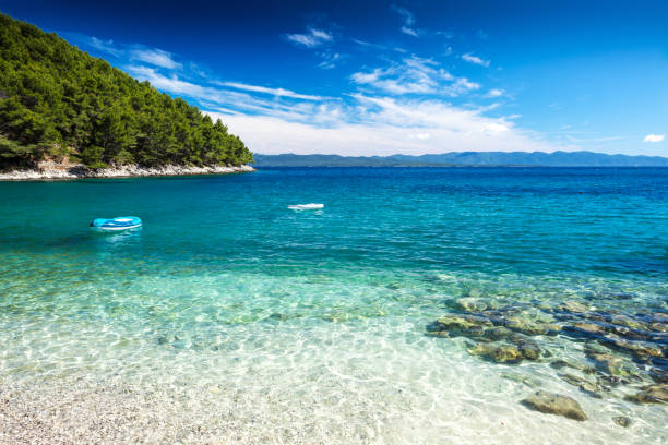 Mediterranean Sunny Beach in Adriatic Sea stock photo
