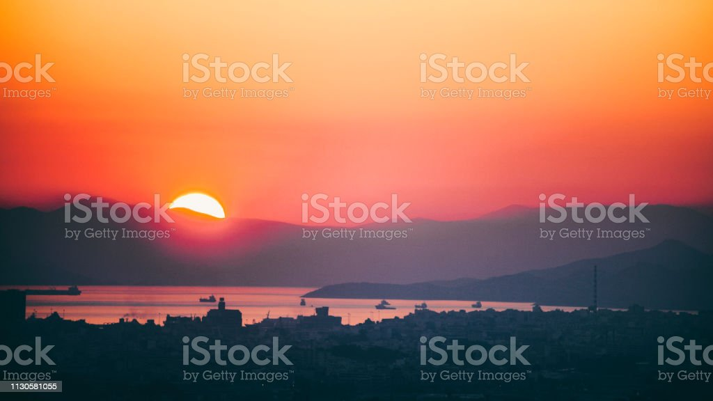 Mediterranean sunset - Athens, Greece stock photo