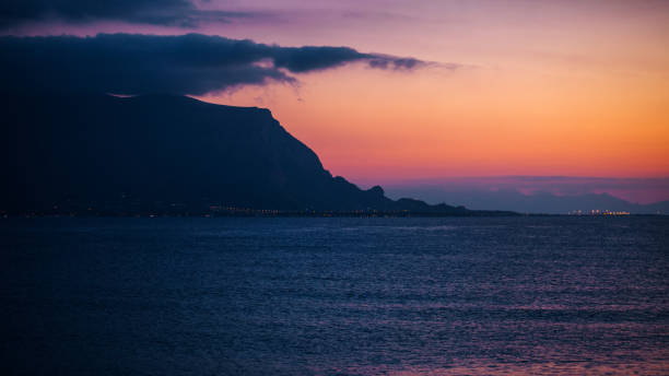 Mediterranean sunset - Isola Delle Femmine, Sicily stock photo