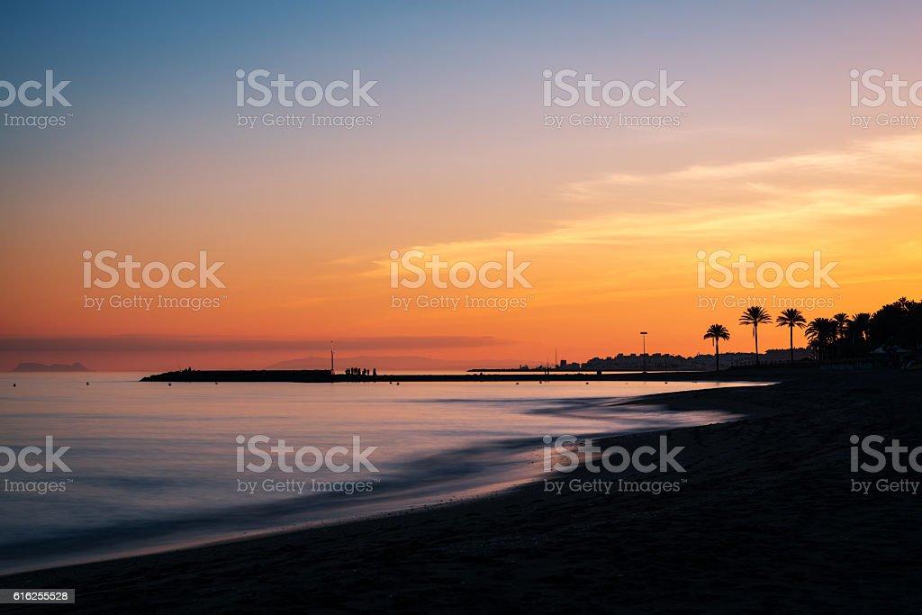 Mediterranean sunset in Marbella, Costa del Sol, Spain stock photo