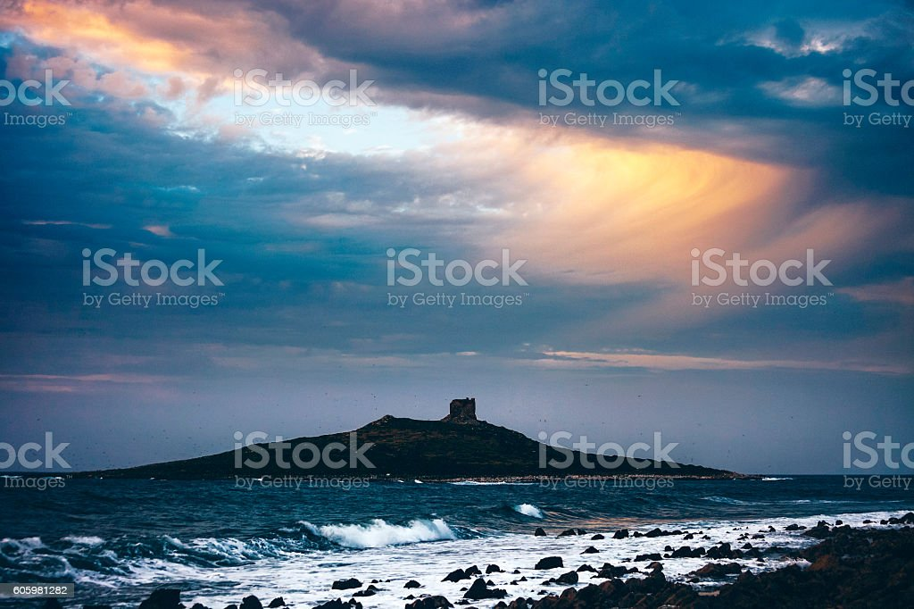 Mediterranean sunset, Sicily. stock photo