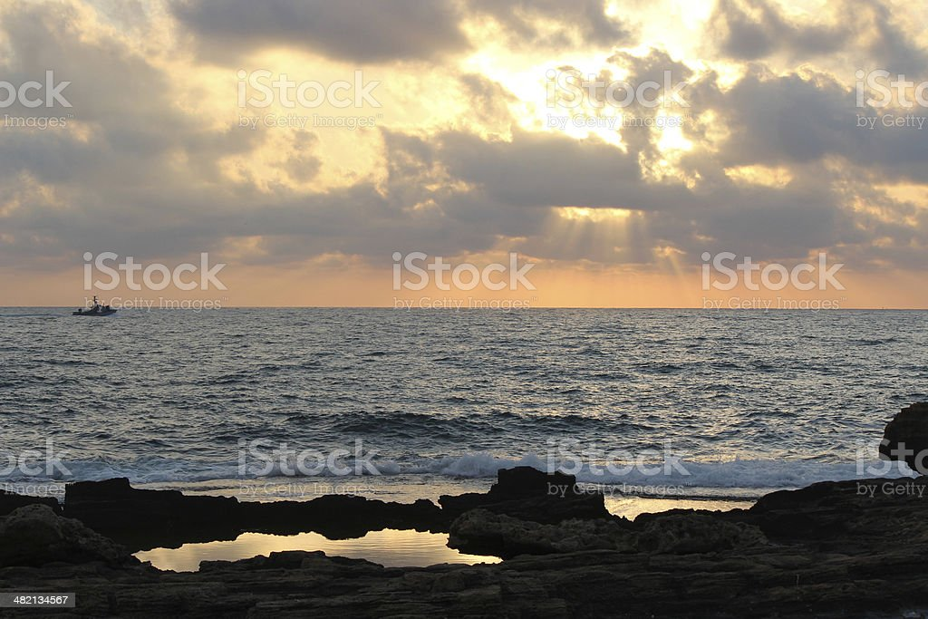 Mediterranean sunset view Israel stock photo
