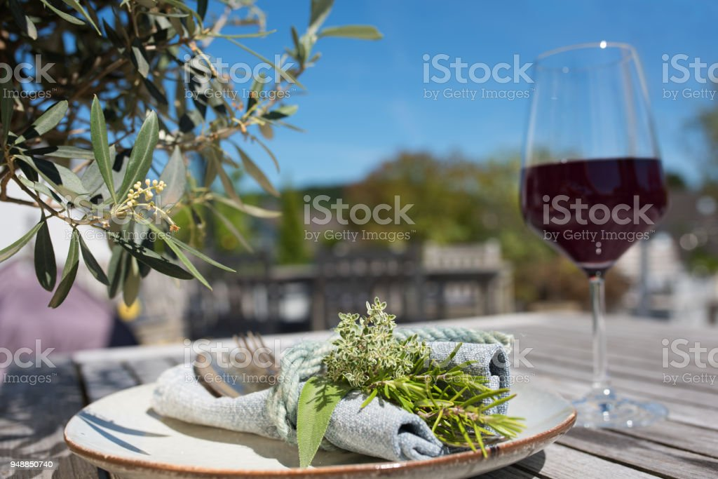 Mediterranean Table Setting Royalty Free Stock Photo