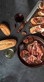 istock Mediterranean tapas, spanish, food, dark concrete, delicious ham, italian antipasti snacks, cherry ham, skewers, skewers 1213683211