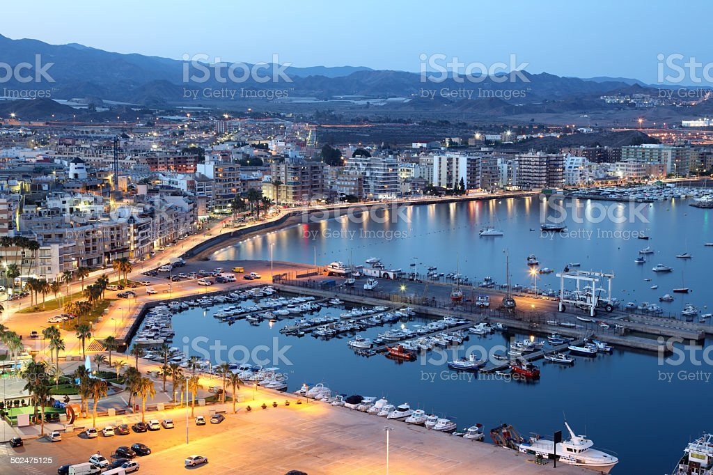 Mediterranean town Aguilas at night, Spain stock photo