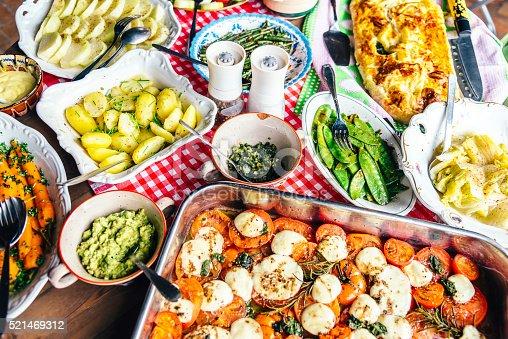 mediterranean vegetable antipasti on rustic table