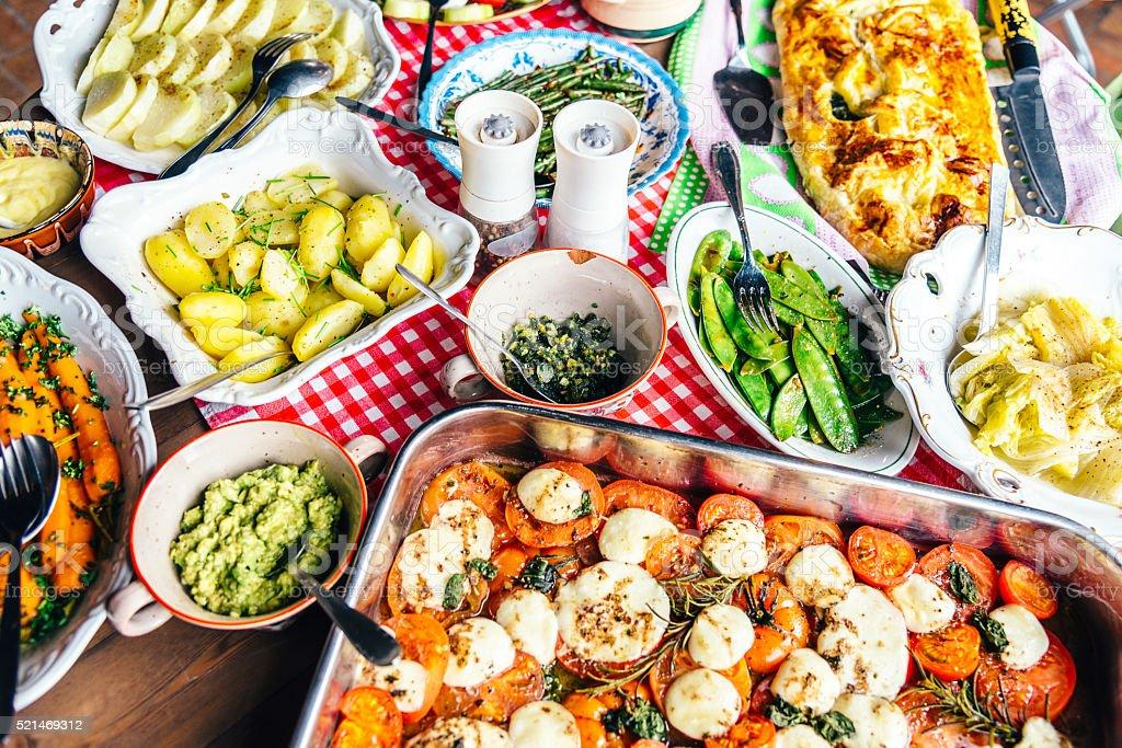 mediterranean vegetable antipasti on rustic table stock photo