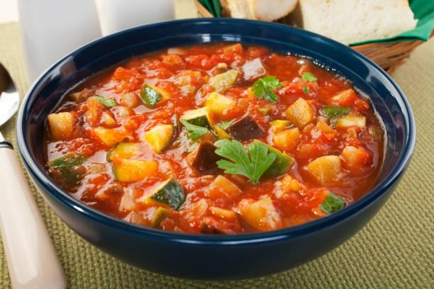 Mediterranean Vegetable Soup Ratatouille stock photo