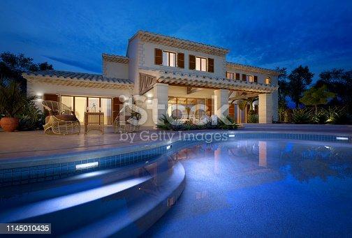 istock Mediterranean villa with swimming pool 1145010435
