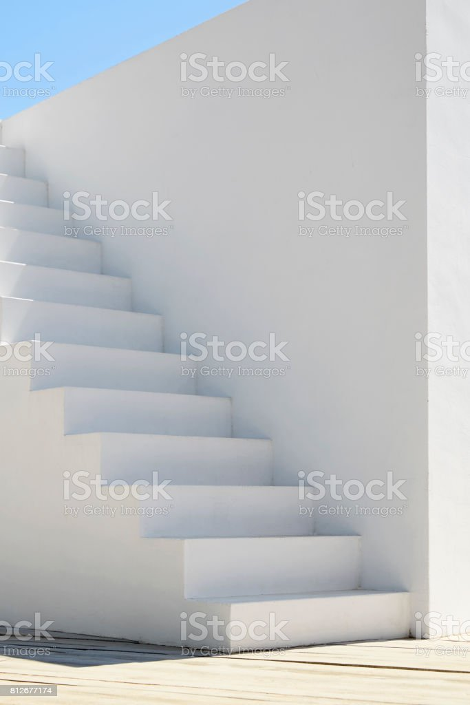 Mediterranean white stair stock photo