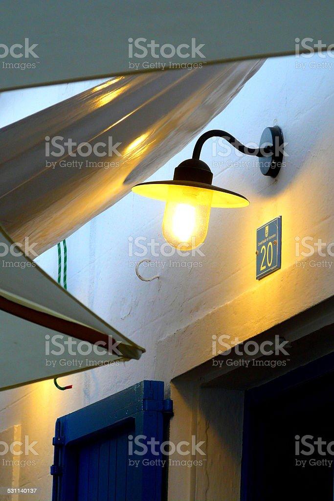 Mediterranean white walled house in Formentera, Balearic Islands, Spain. stock photo