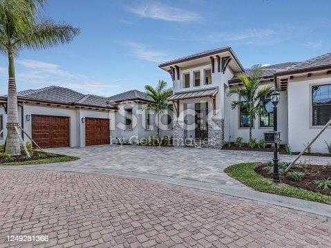istock Mediterranean-style facade of luxury home 1249281366