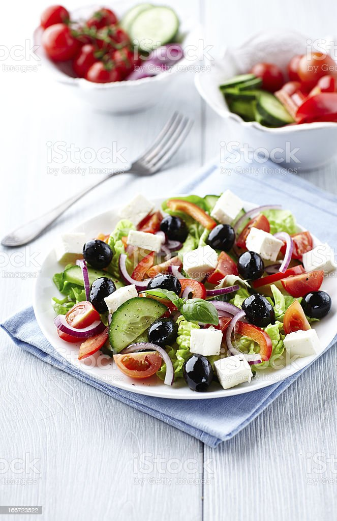 Mediterranean-style salad with feta and olives stock photo