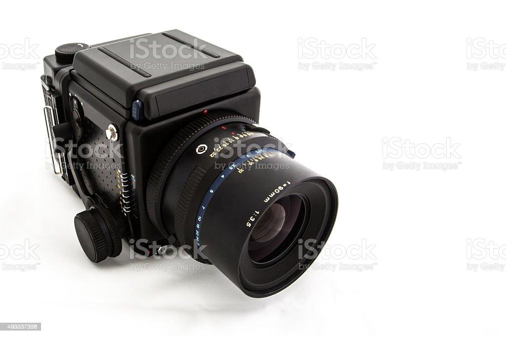 Medium Format 120 Film SLR Camera on White Background stock photo
