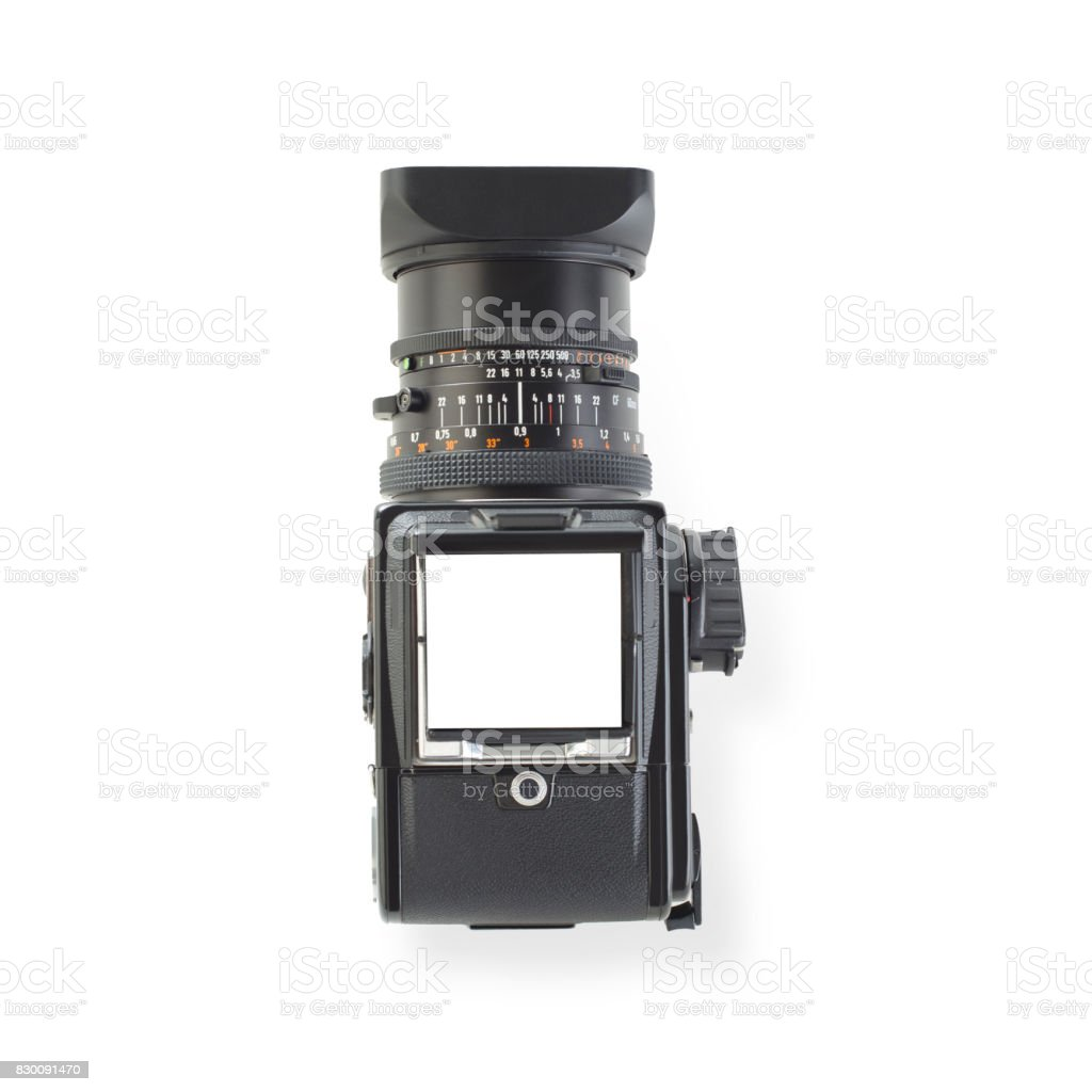Medium format camera in top view isolated stock photo
