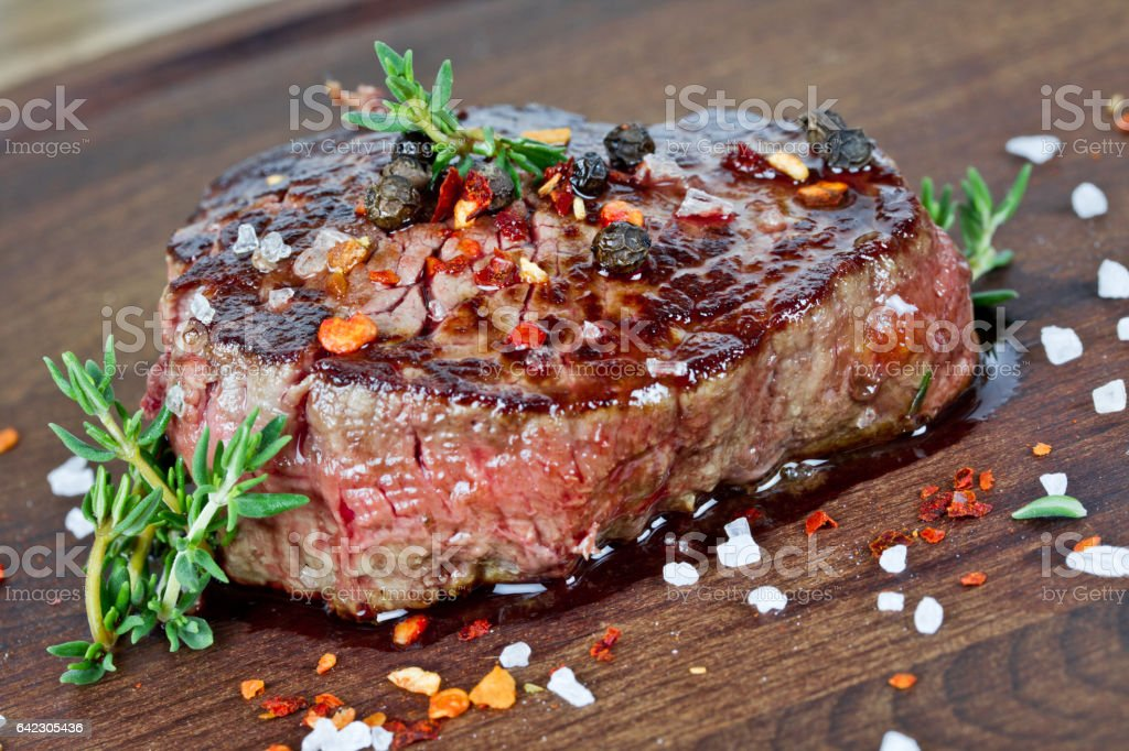 medium grilled steak stock photo