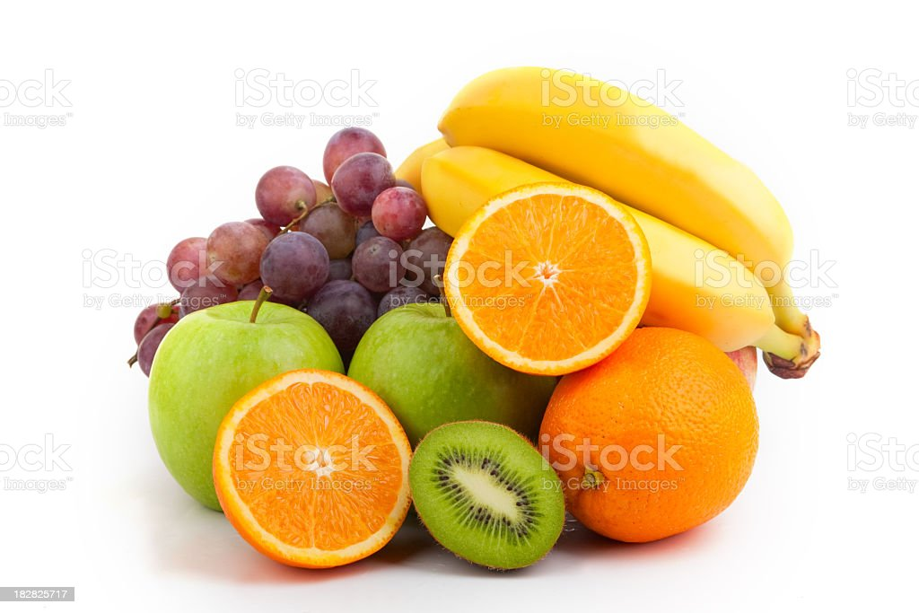 Medium pile of assorted fresh and bright fruit stock photo