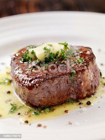 Medium Rare Fillet Mignon Steak with Herb Garlic Butter