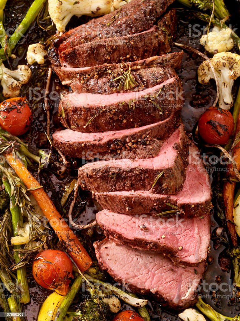 Medium Rare Roast Beef stock photo