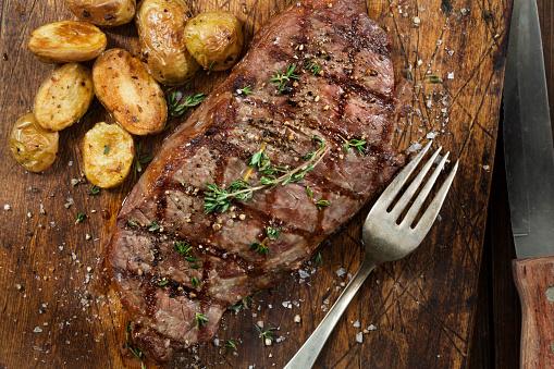 Medium Rare Sirloin Steak with Roasted Potatoes