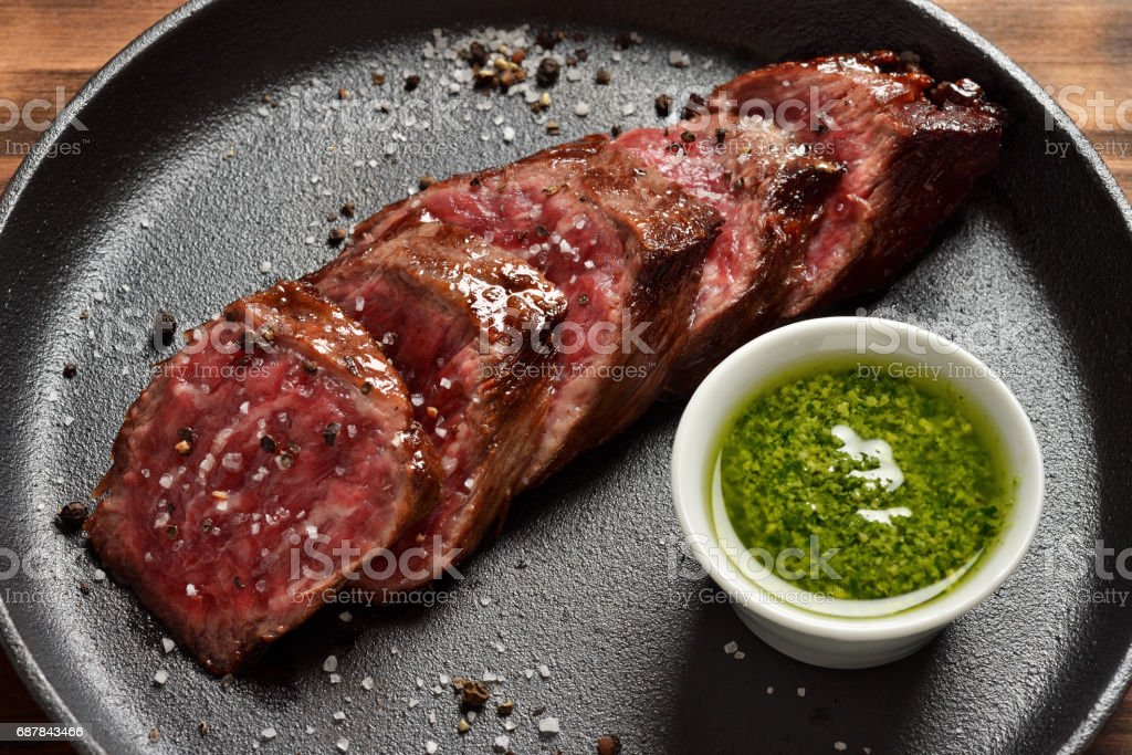 Medium Rare Skirt steak in a pan stock photo