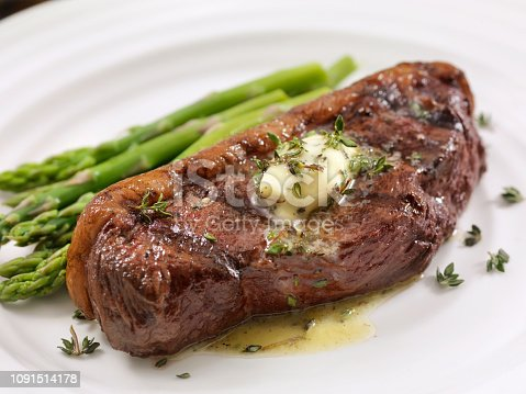 Medium Rare Top Sirloin Steak with Herb Garlic Butter