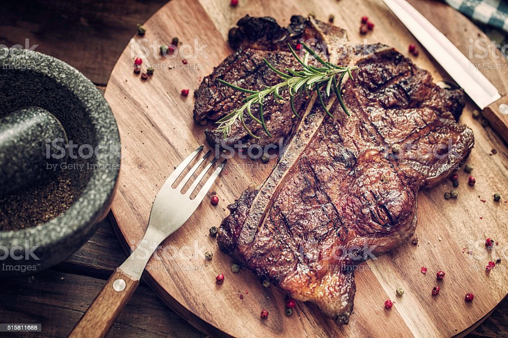 Medium Roasted T-Bone Steak stock photo