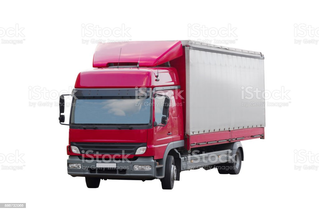medium sized delivery truck isolated on white stock photo
