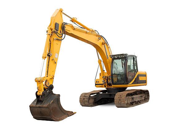 medium sized excavator - excavator bildbanksfoton och bilder