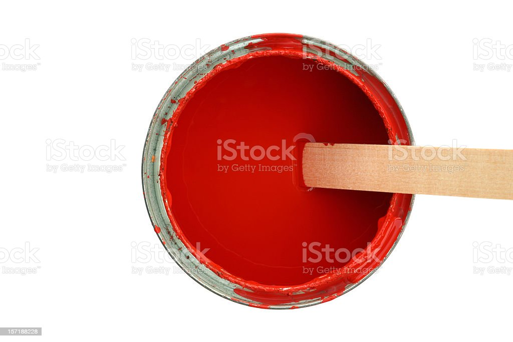Medium sized opened can with red paint and wooden stirrer royalty-free stock photo
