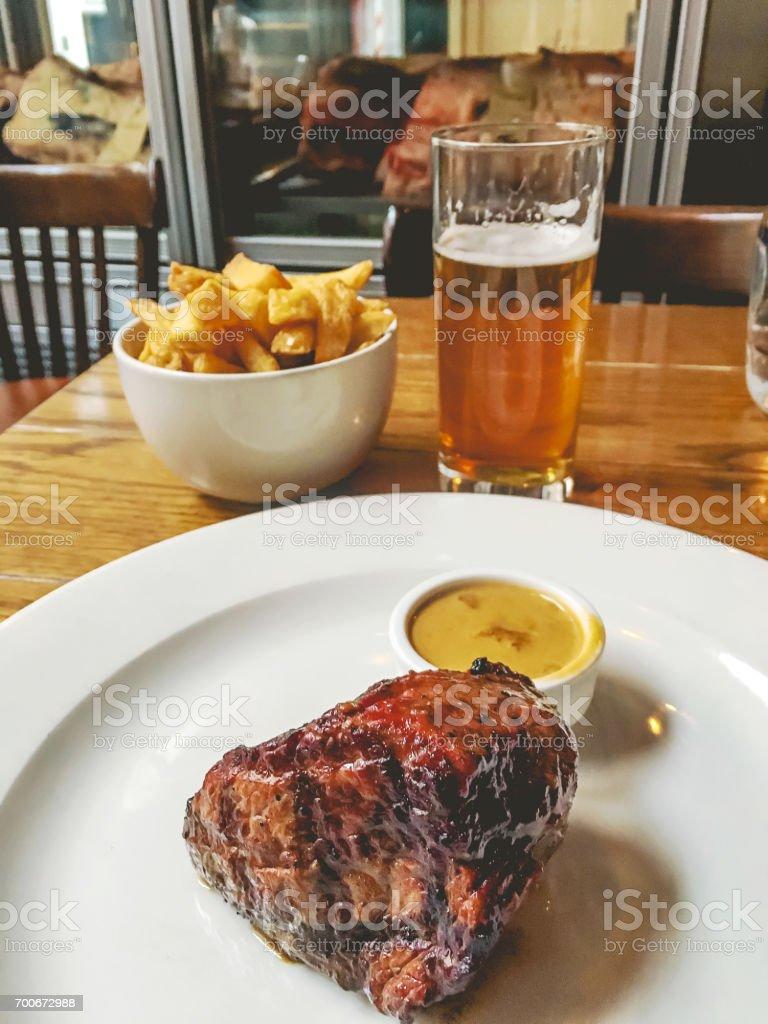 Medium well rump steak stock photo