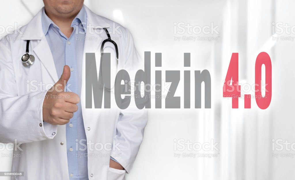 Medizin 4.0 (in german Medicine) concept and doctor with thumbs up stock photo