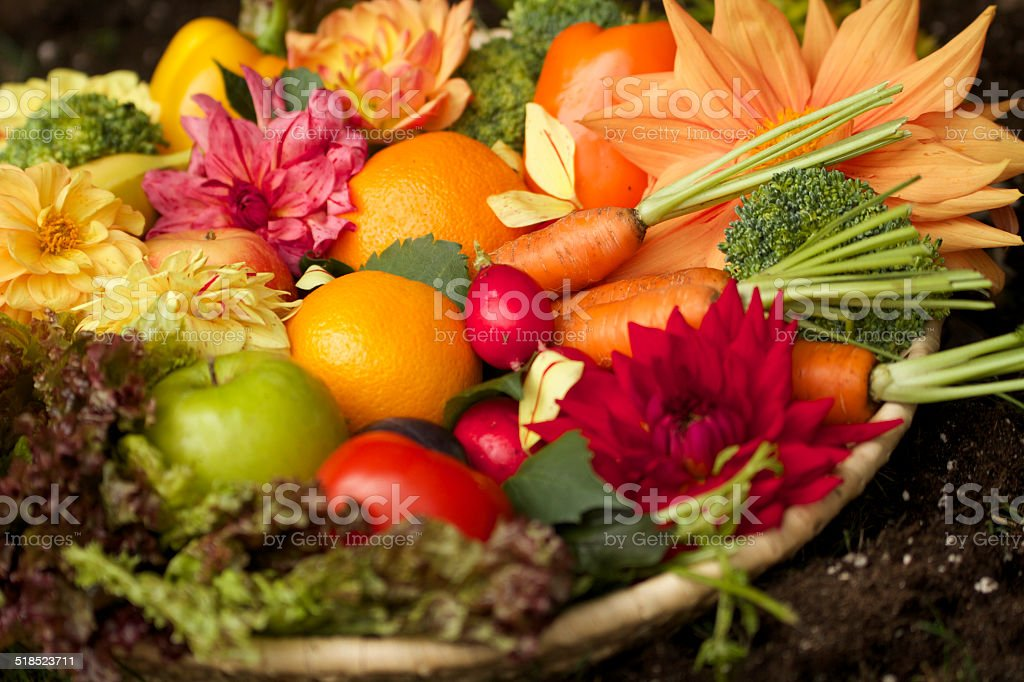 Medley of fruits and vegetables stock photo