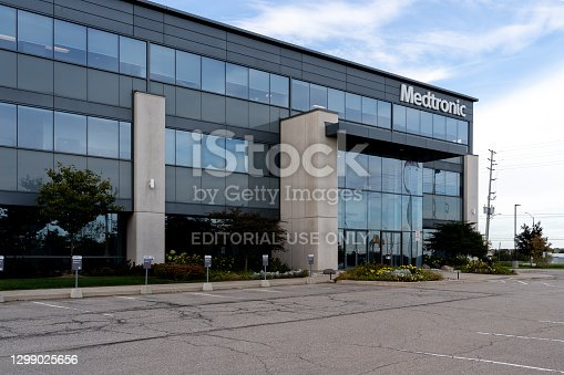 Brampton, Ontario, Canada- October 5, 2019: Medtronic at Canada Headquarters in Brampton, Ontario, Canada.  Medtronic is among the world's largest medical equipment development companies.