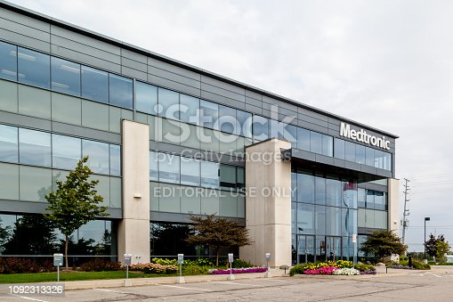 Brampton, Ontario, Canada- August 25, 2018: Medtronic Canada Headquarters in Brampton, Ontario, Canada.  Medtronic is among the world's largest medical equipment development companies.