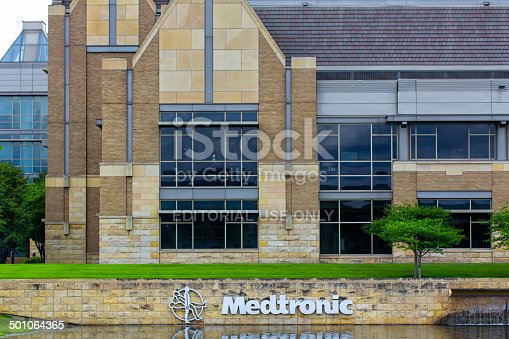 Fridley, United States - June 23, 2014: Medtronic corporate headquarters campus. Medtronicis the world's fourth largest medical device company and is a Fortune 500 company.