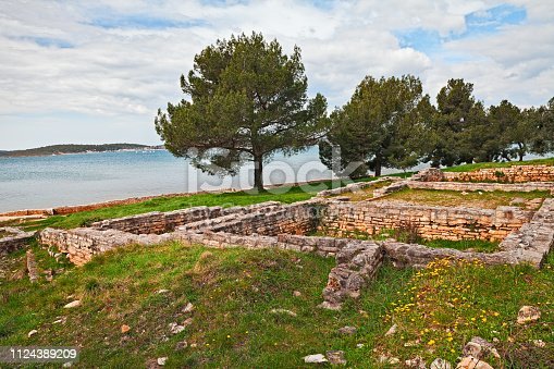 Medulin, Istria, Croatia: the remains of an ancient Roman villa built over 2000 years ago on the shore of the Adriatic Sea in the Vizula peninsula
