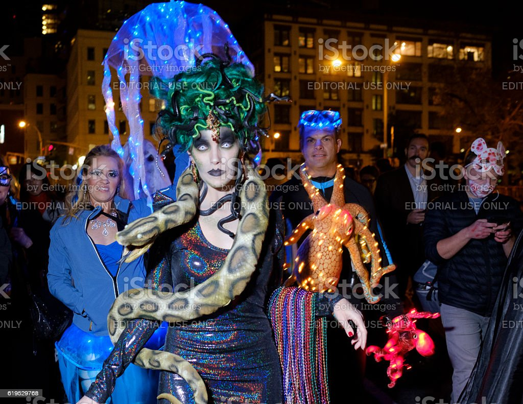 Medusa and Under Sea Creatures joining the Halloween Parade stock photo