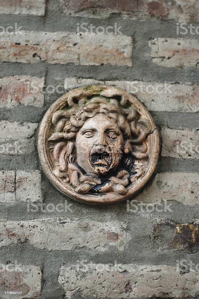 Medusa decorative wall element. stock photo