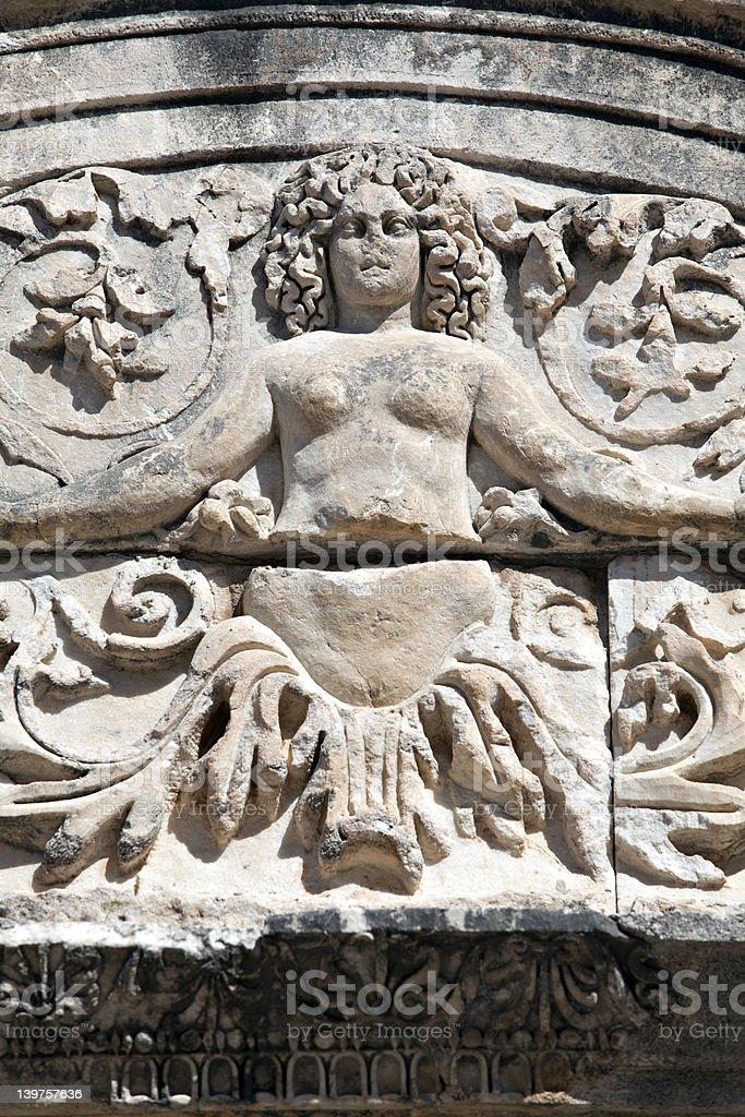 Medusa Detail of Hadrian's Temple, Ephesus royalty-free stock photo